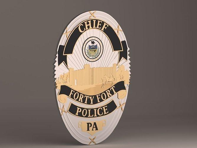 forty fort police badge 3d model max obj mtl 3ds fbx stl 1