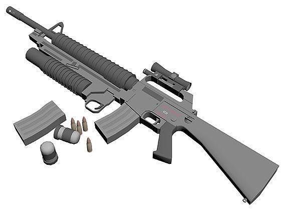 m-16 weapon 3d model max obj mtl 3ds fbx stl 1