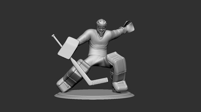 hockey player goalie collectible figure statue 3d print pose 05 3d model obj mtl stl 1