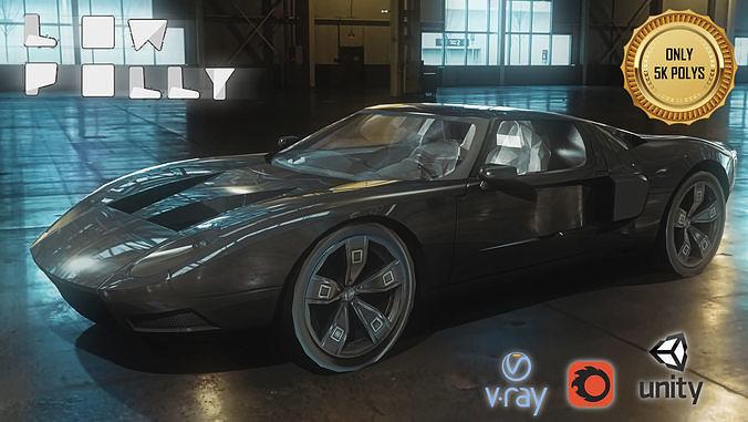 concept sport car low poly 3d model low-poly max obj mtl fbx tga unitypackage prefab 1