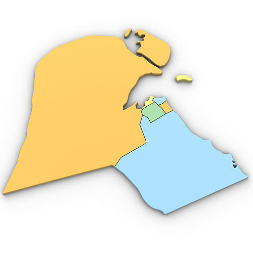 Kuwait Political Map.3d Political Map Of Kuwait Cgtrader