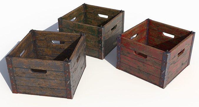 wooden crate 3d model low-poly max obj mtl 3ds fbx dxf blend 1