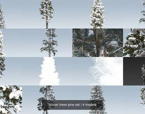 Winter trees pine set 3D model