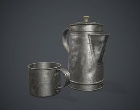 Old Metal Coffee Carafe With Cup PBR Game 3D asset
