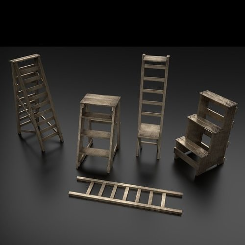 wood ladder pack 3d model low-poly obj mtl 3ds fbx blend 1