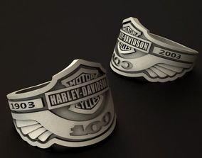 Harley Davidson 100th anniversary ring 3D printable model