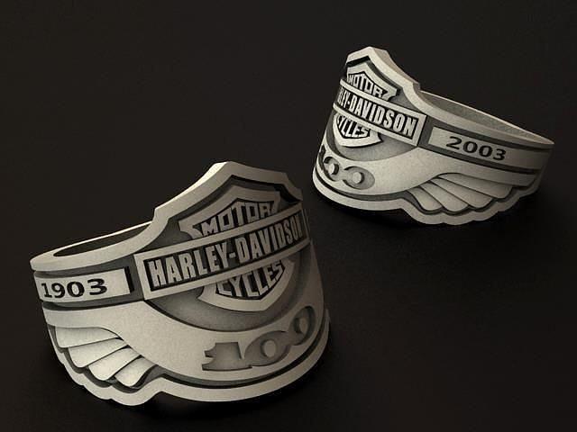 harley davidson 100th anniversary ring 3d model obj mtl 3ds stl 1
