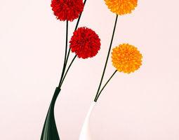 Ceramic vases and flowers 3D Model