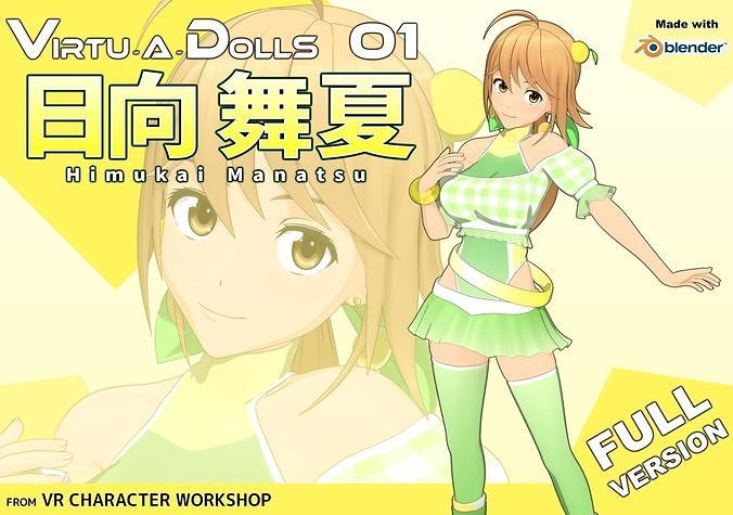 virtu-a-dolls 01  himukai manatsu - full version 3d model low-poly rigged blend 1