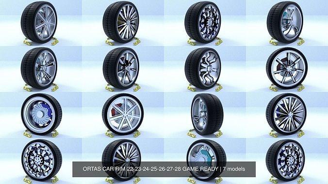 ortas car rim 22-23-24-25-26-27-28 game ready 3d model obj mtl fbx 1