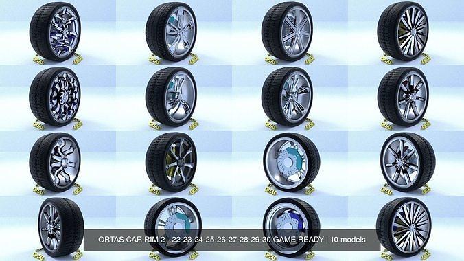 ortas car rim 21-22-23-24-25-26-27-28-29-30 game ready 3d model obj mtl fbx 1