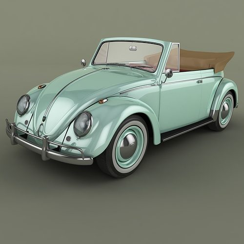 volkswagen beetle cabrio 3d model cgtrader. Black Bedroom Furniture Sets. Home Design Ideas