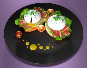3D model poached eggs