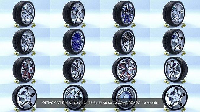 ortas car rim 61-62-63-64-65-66-67-68-69-70 game ready 3d model obj mtl fbx 1