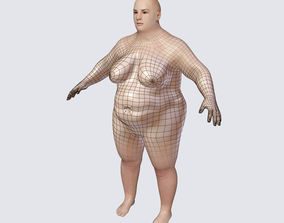 Fat Mid Aged Woman - White and Black Textures 3D model