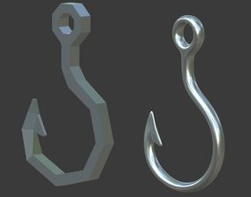 Fish hook 3D asset