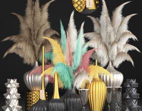 3D model Decor with dry flowers Phragmites