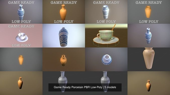 game ready porcelain pbr low-poly 3d model obj mtl 3ds fbx dae unitypackage prefab 1