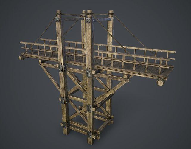 timber bridge 3d model low-poly max obj mtl fbx 1