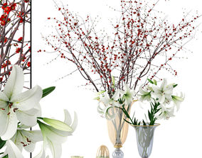 3D Griffe Montenapoleone vases with flowers