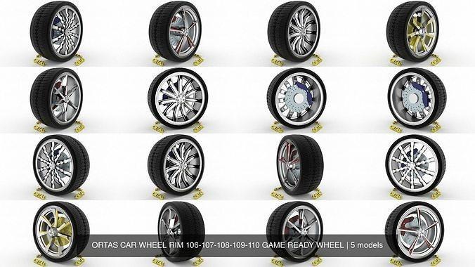 ortas car wheel rim 106-107-108-109-110 game ready wheel 3d model obj mtl fbx blend 1
