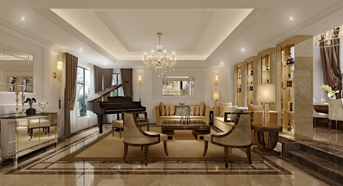 3D expensive interior living room lounge | CGTrader