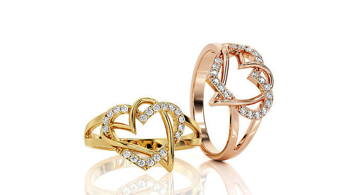 two hearts ring fashion ring r f 0029 3d model obj mtl stl 3dm 1