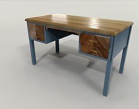 Teacher desk lowpoly 3D model game-ready PBR