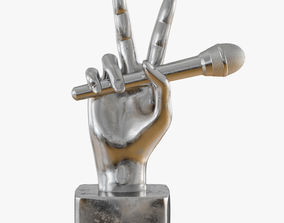Figurine hand with a microphone 3D printable model