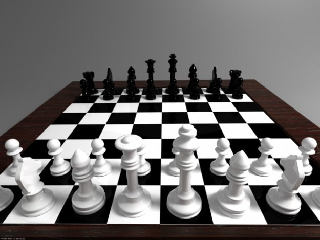 Chess Board And Chess Pieces 3d Model Max Obj 3ds Fbx