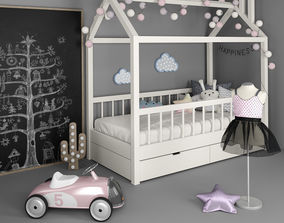 Bed - house with accessories for children 3D