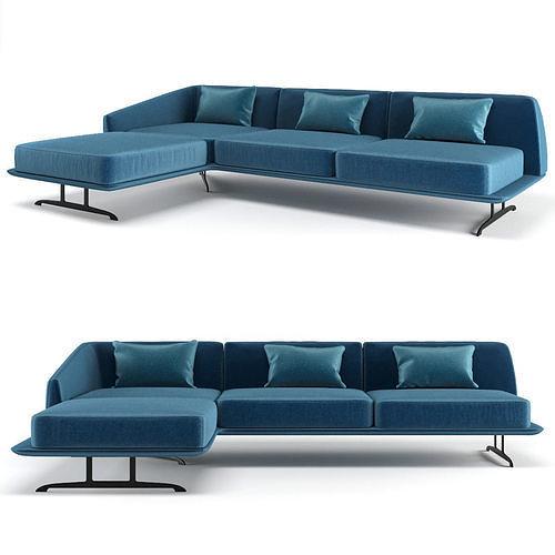 baleri italia trays corner sofa  3d model max obj mtl fbx 1