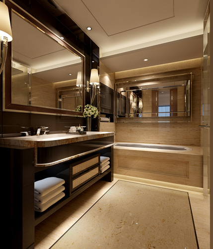 Photo real bedroom and bathroom interior 3d model max for New bathroom models