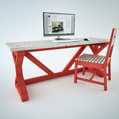 fancy x desk 3d model low-poly max obj mtl 3ds skp 1