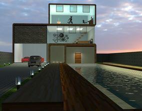 3D model Modren House with work space