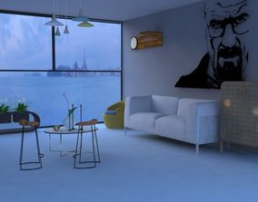 Modern Living Room with the ocean view 3D