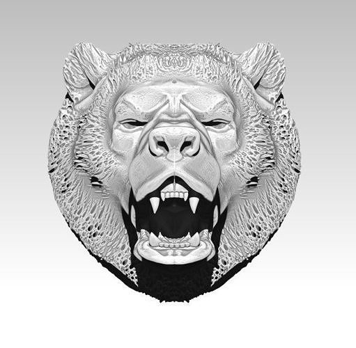 Angry bear head grizzly