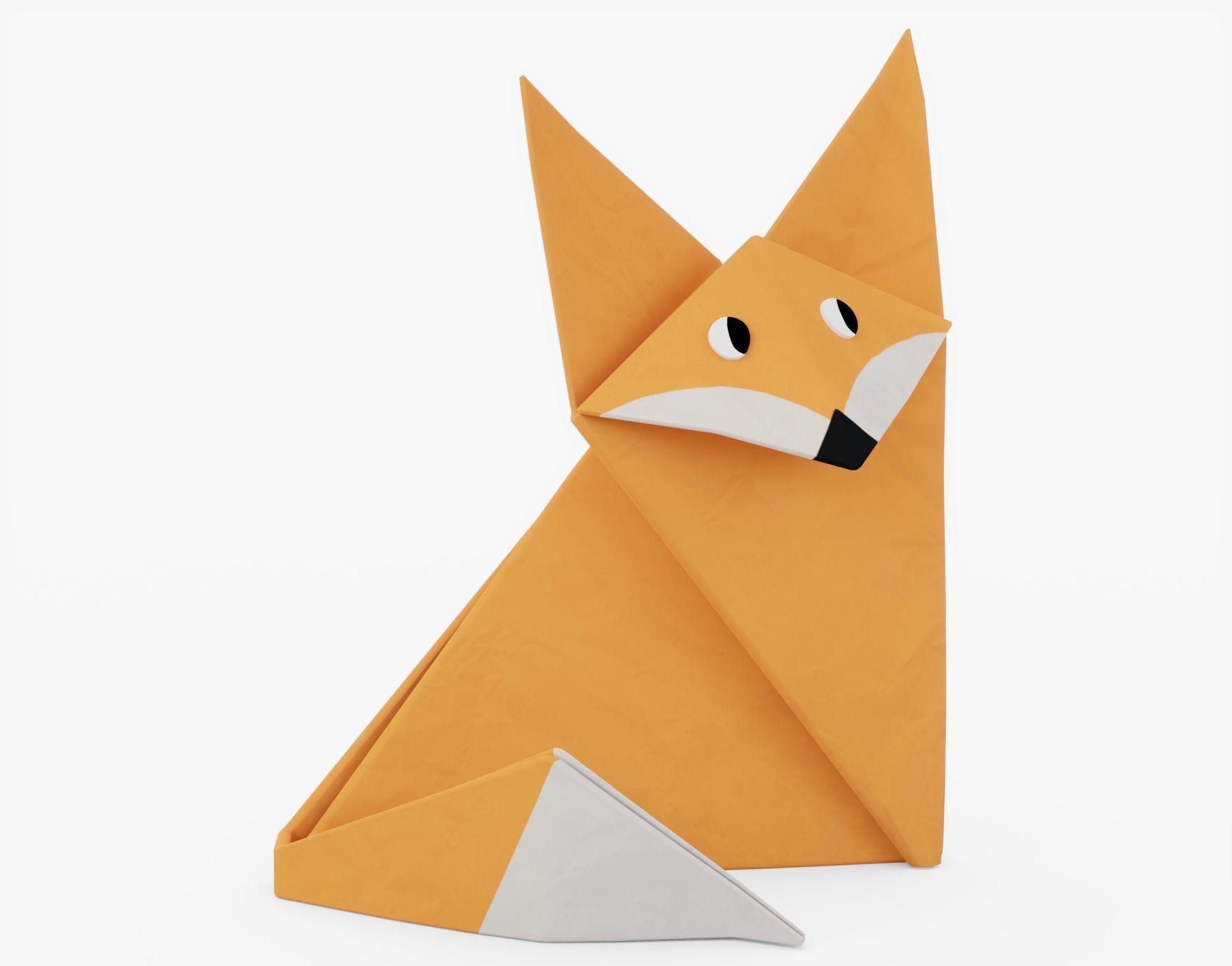 Origami Fox 3D asset | CGTrader