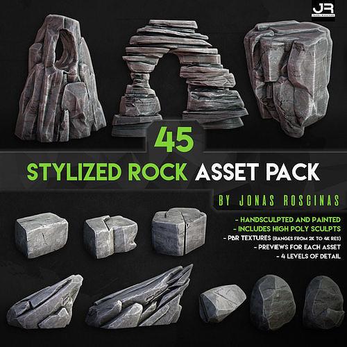 stylized rock asset pack by j roscinas 3d model obj mtl pdf 1