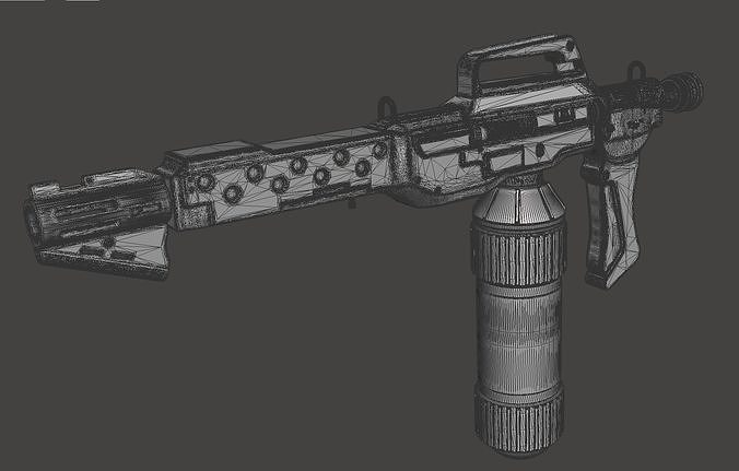 m240 flamethrower with custom wall mount with finishing guide 3d model stl pdf 1