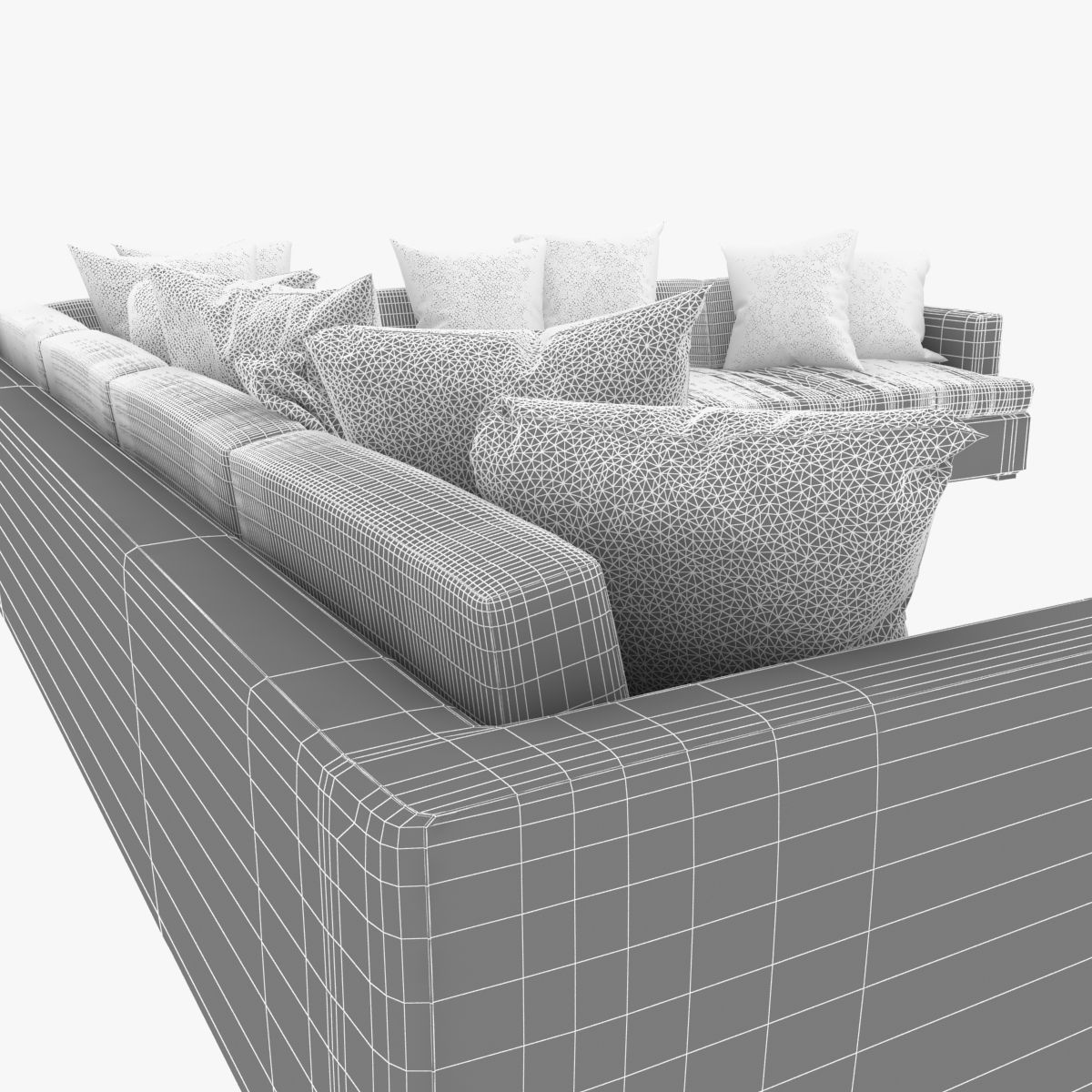 Great room sectional sofa with pillows 3d model max obj for Great room sectional