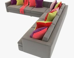 great room sectional sofa with pillows 3D Model