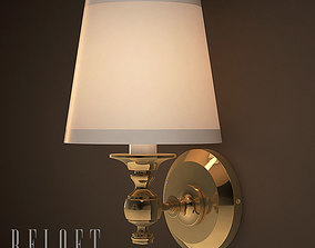 Lamp Bracket Lacquered Burnished Brass 3D