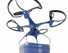 Generic Logistics Blue Post Drone with Box 3D