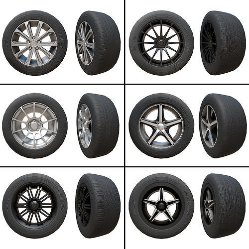 pack of tyres and alloys - 6 alloy wheels and 5 tyre textures 3d model max obj mtl fbx ma mb 1