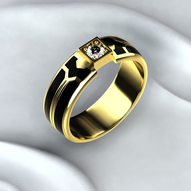 Black Enamel Gold Ring