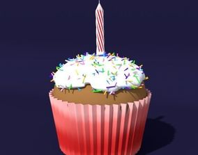 3D model Cupcake with Candle