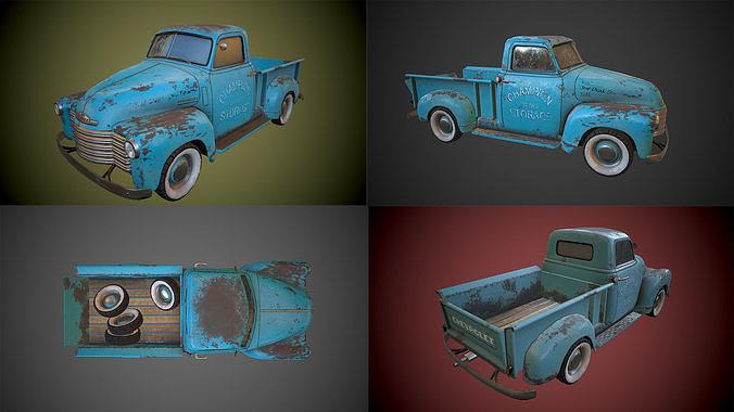 chevrolet 3100 pickup - game ready 3d model obj mtl fbx 1