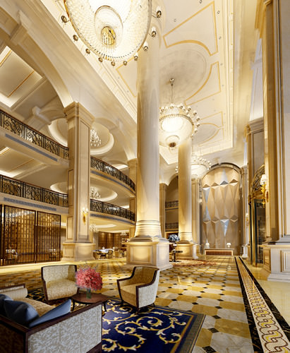 Luxurious Hotel Lobby Photo Real 3d Cgtrader