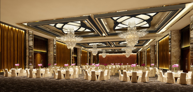 photo real wedding hall3D model